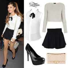 Ariana Grande: Gray Fuzzy Sweater, Quilted Bag