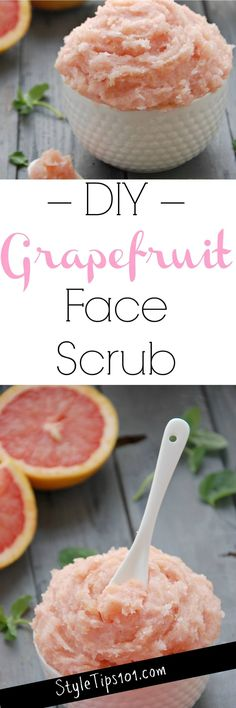 Homemade face scrubs are one of the easiest and most satisfying DIY beauty projects you can make and this homemade grapefruit face scrub is NO exception! Diy Body Scrub, Diy Scrub, Bath Scrub, Diy Beauty Projects, Sugar Scrub Homemade, Homemade Soaps, Diy Hair Mask, Hair Masks, Facial Scrubs