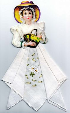 Paper Doll Wearing a Vintage Handkerchief Dress
