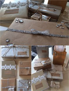 Christmas Gift Wrapping  Craft Paper & Silver