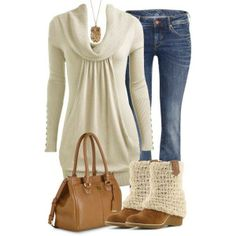 Love this sweater just in a different colour, jeans, boots. So cute!!