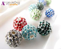 Rhinestone beads round silver beads by APlusJewelryCrafts on Etsy, $7.00