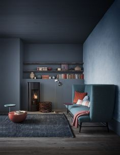 Living Space. The mix of grey, blue, old rose. Interior design.