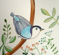 Bird / Blue / Original Watercolor painting / Wall by sublimecolors, $24.99
