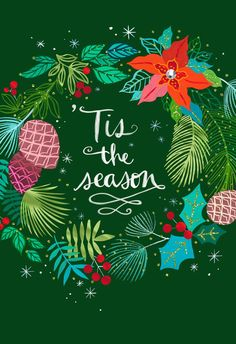 Tis the Season Festive Wreath Christmas Card Send season's greetings to someone especially wonderful on your list. Deep green card is decorated with a colorful wreath of holly, pinecones and poinsettias. Christmas Graphics, Vintage Christmas Cards, Christmas Pictures, Christmas Art, Christmas Wreaths, Christmas Posters, Christmas Sayings, Christmas Windows, Christmas Trends