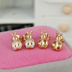 13mm 18K Gold Plated Fashion Beetles Shaped Inlay Ziron Women Ladies Copper Earrings
