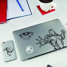 16 Marvel Avengers Gadget Decals Stickers For Laptops Smartphones Tablets Stickers Harry Potter, Harry Potter Animé, Marvel Avengers, Avengers Characters, Laptop Stickers, Mug Star Wars, Star Wars Stormtrooper, Thor, Manualidades