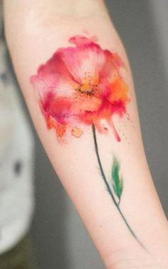 Watercolor Flower Tattoo Idea - MyBodiArt.com