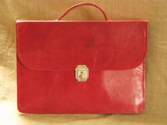 Genuine Leather Briefcase Mariam - Red Leather Dispatch Case