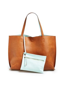 Street Level Reversible Faux Leather Tote   Wristlet  d2bc8d35a4b34