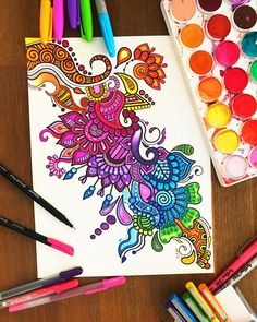 A colourful zentangle doodle! If You want to checkout my video of creating this just have a look at my last post❤️ Hope you guys like this! Would love to hear your feedbackThank you guys, have an awesome week! Doodle Art Designs, Doodle Patterns, Zentangle Patterns, Zentangles, Gel Pen Art, Marker Art, Art Drawings Sketches, Doodle Drawings, Diy Collage