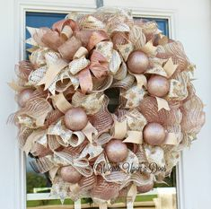 Rose Gold Wreath is a beautiful way to decorate for the holiday season and throu… - Modern Rose Gold Christmas Decorations, Christmas Rose, Shabby Chic Christmas, Pink Wreath, Gold Wreath, Holiday Wreaths, Deco Mesh, Cookie Monster, Advent