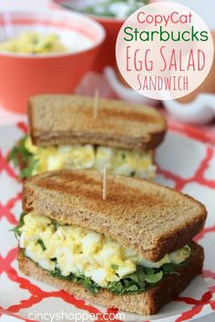 We have been on a cold sandwich kick and this CopyCat Starbucks Egg Salad Sandwich Recipe was perfect. Cold sandwiches are one of our big menu items in the spring and summer. Having quick cold items t Egg Salad Sandwiches, Soup And Sandwich, Sandwich Recipes, Egg Recipes, Cooking Recipes, Healthy Recipes, Steak Sandwiches, Vegan Sandwiches, Picnic Sandwiches