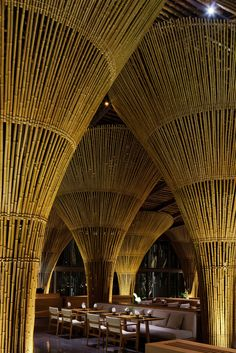 """dezeen: """" Vo Trong Nghia Architects has added new bamboo structures to the Naman Retreat in Vietnam, including a beach bar and a restaurant filled with huge trumpet-shaped columns Bamboo Architecture, Architecture Design, Contemporary Architecture, Classical Architecture, Bamboo House Design, Bamboo Building, Bamboo Structure, Bamboo Construction, Bamboo Art"""