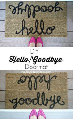 DIY Hello/Goodbye Doormat - Dwelling In Happiness