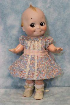 "13"" 1913 Antique German Bisque Kestner Kewpie Doll Glass Eyed Googly from turnofthecenturyantiques on Ruby Lane"