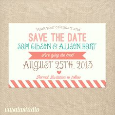 Rustic Vintage Turquoise & Coral Save the Date Wedding Printable Invitation OR Printed Card. $15.00, via Etsy.