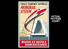 Monorail Cross Stitch, Vintage Monorail Cross Stitch, Tomorrowland,  by NewYorkNeedleworks on Etsy by NewYorkNeedleworks on Etsy https://www.etsy.com/listing/191892020/monorail-cross-stitch-vintage-monorail