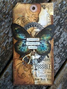 Vintage Butterfly Tag by Karen Knight Good Afternoon! Karen here again today, sharing with you another of my tags made for my tag journal. Yes it's true i am a little addicted to creating on tags! (as well as the little chitchat word … Atc Cards, Card Tags, Gift Tags, Vintage Butterfly, Butterfly Cards, Blue Butterfly, Art Journal Pages, Art Journals, Junk Journal