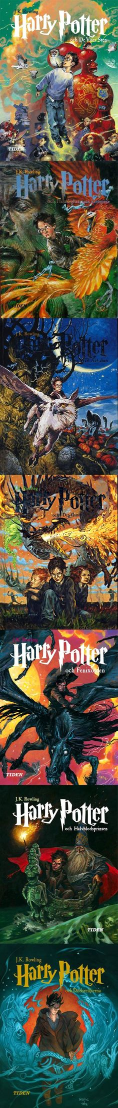 Swedish book covers for Harry Potter. They're incredibly artistic and insightful, capturing the sense of wonder, magic, and heroism Harry Potter and company live.