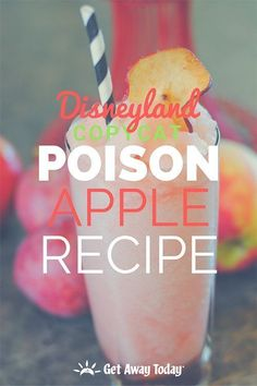 Halloween Time at Disneyland is a spooky good time, especially with all the tasty treats exclusive to this time of year! We put together a chilling good copycat recipe of the Disneyland Poison Apple drink you. Comida Disneyland, Best Disneyland Food, Halloween Time At Disneyland, Poison Apple Drink Recipe, Drink Recipe Book, Disney Drinks, Disney Snacks, Disney Recipes, Fitness Smoothies
