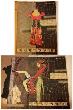 Fashion art journal page with Graphic 45 paper. Miranda Bosch - Thurlings.