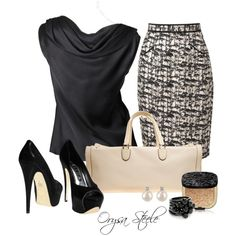 """Creme et Noir"" by orysa on Polyvore"