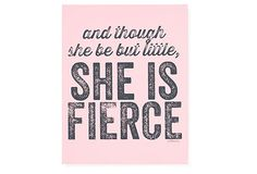 """This quote is from """"A Midsummer Night's Dream"""" and describes Hermia, a character I played when I was 15. This was my 1984 senior year high school yearbook quote! """"She was a vixen when she went to school, and tho' she be but little she is fierce!!"""" Pink Fierce on OneKingsLane.com"""