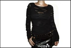 BROKEN - Black Edgy Goth Shirt Post Apocalyptic Industrial  Long Sleeves Vampire Alternative Clothing