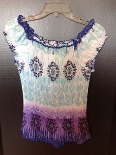 Dressbarn Small Boho Purple Blue White Blouse Top Stretch Beaded Peasant #dressbarn #Blouse #Casual