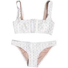 Lover Square Neck White Lace Bikini (725 PLN) ❤ liked on Polyvore featuring swimwear, bikinis, underwear, bikini, swimsuits, bathing suits, swimsuit bikini, lace bikini, white swimsuit i white bathing suit