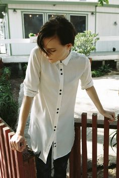 There's no need to weigh yourself down with anything heavy now. Erika Linder prefers to keep things light as the weather turns warm. -River Shirt, NIKITA Clothing