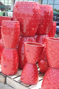 """Pottery....love the shadings and detail on our new shipment of pottery; all sizes, shapes, textures, and hues!    I'd love these for the holidays, too.  Just imagine, adding evergreens to these colorful red containers; """"instant decor"""".  The Barn Nursery, Chattanooga!  070915"""