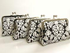 Wedding clutch,  black damask clutch, bridesmaids purse, black and white wedding, fabric flower, via Etsy