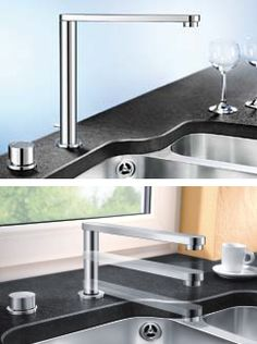 These striking, angular new Blanco kitchen faucets are Blancoelos Control and Blancoeloscope-F. Designed in Germany, both of these chic high pressure kitchen faucets come with your choice of a...
