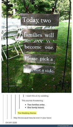 Funny pictures about The wedding games. Oh, and cool pics about The wedding games. Also, The wedding games. Wedding Entrance, Wedding Ceremony, Our Wedding, Dream Wedding, Wedding Seating, Ceremony Seating, Wedding Stuff, Wedding Photos, Entrance Sign