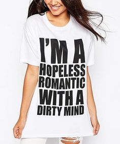 Love this White 'Hopeless Romantic' Crewneck Tee on #zulily! #zulilyfinds