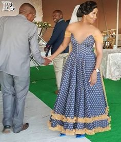 Chic and Modern shweshwe dresses Fashion - Our Nail African Wedding Attire, African Attire, African Fashion Dresses, African Wear, African Dress, African Jumpsuit, African Weddings, Seshweshwe Dresses, Nice Dresses