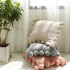Handmade Knitted Wool Pillow Case Solid Sofa Waits Bedroom Decorative Throw Pillows Cover with Furry Ball What's Decoration? Decoration is … Cute Pillows, Wool Pillows, Diy Pillows, Decorative Throw Pillows, Pillows On Bed, Cute Cushions, Crochet Cushions, Pillow Ideas, Handmade Pillows