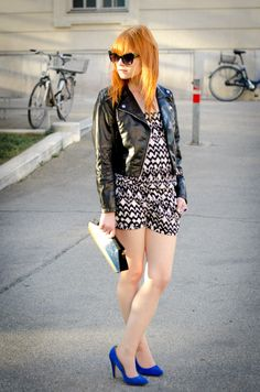 H & M jumpsuit and leather jacket / SMH blue suede heels / Claudine London clutch
