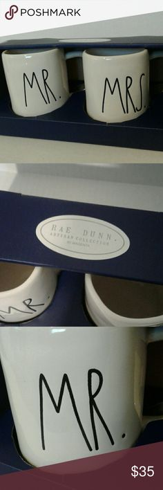 Rae Dunn Mr. & Mrs Mug Set Brand New Rae Dunn Set  Will package responsibly but not responsible for postal service handling Rae Dunn Other