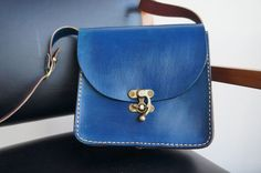 Handmade Leather medium messenger bag blue with by GalenUnique, $39.00