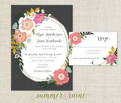 Floral Wedding Invitation, perfect for spring or summer weddings! Easy invite, print wherever or through my shop. Bright colors, fuchsia, coral, blush, pink, mint and shades of green.