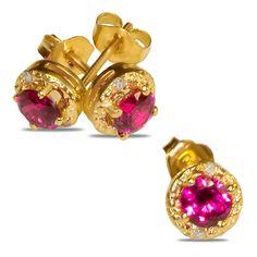 Etsy NissoniJewelry presents - .02CT Diamond Earrings w/ Created Ruby 10k Y/Gold    Model Number:EV4309A-Y077CRU    https://www.etsy.com/ru/listing/275583834/02ct-diamond-earrings-w-created-ruby-10k