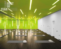 Green wall at yoga studio