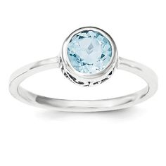 Sterling Silver Filigree Bezel Round Sky Blue Topaz Ring