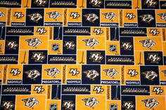Nashville Predators NHL Fabric, 100% Cotton Patchwork Fabric, Crafts, Quilts, Clothing, Home Decor, Continuous Yardage by MeeMawsBags on Etsy