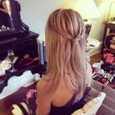 Ellingham hall wedding hair North East wedding hairdresser bridal hair Plaits half up half down do Braided hair styles Straight plait