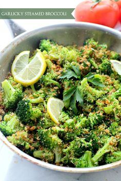 Garlicky Steamed Broccoli - Delicious and healthy side dish of steamed broccoli rolled in buttery panko crumbs, garlic and lemon.