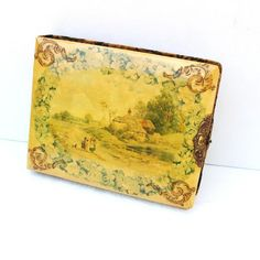 Antique Photo Album / Landscape Art / Lithograph Photography Book with 38 Antique Photographs / Celluloid Book Yellow Green Gold
